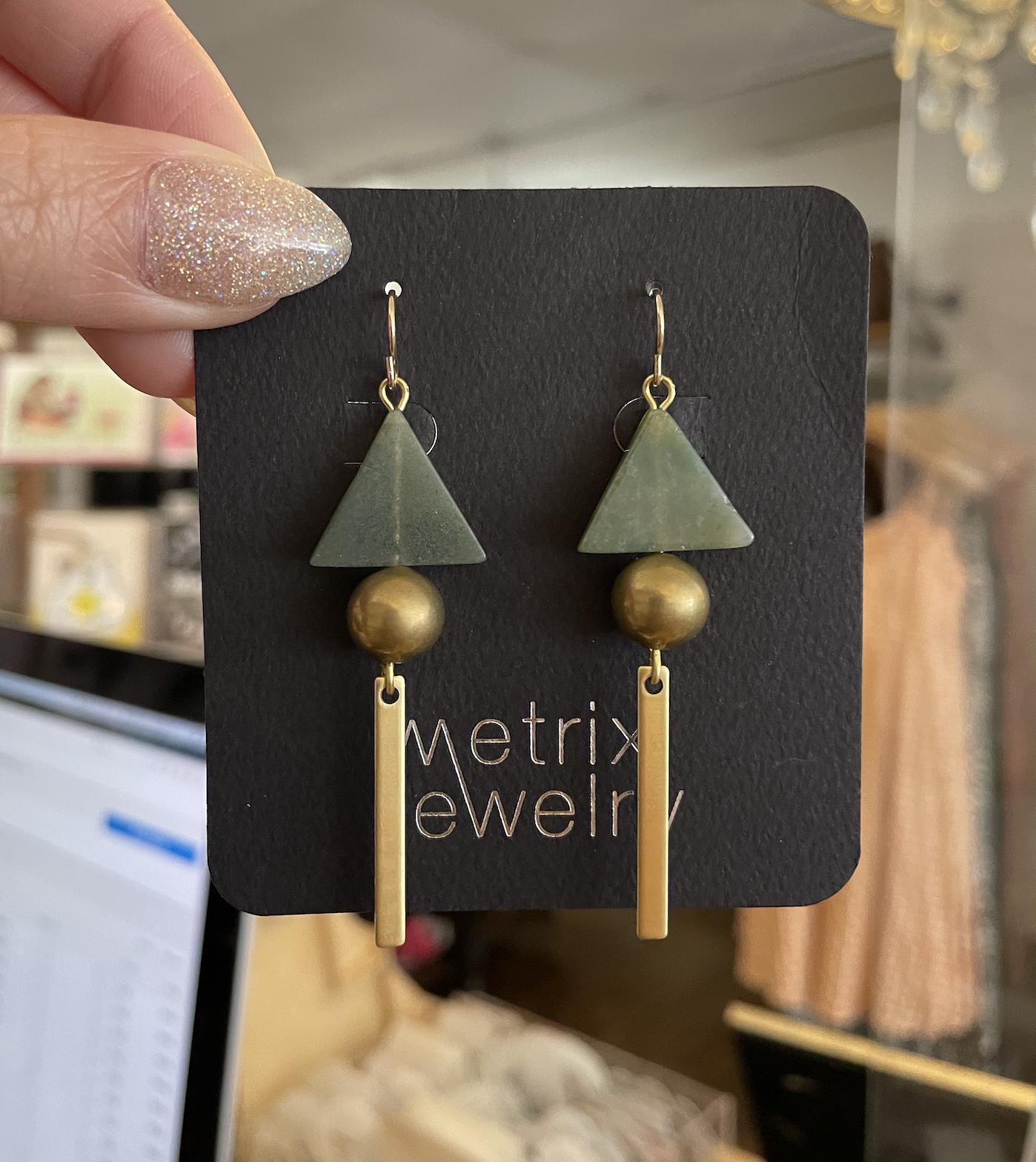 Metrix Jewelry Jasmine Earrings-Dark Green