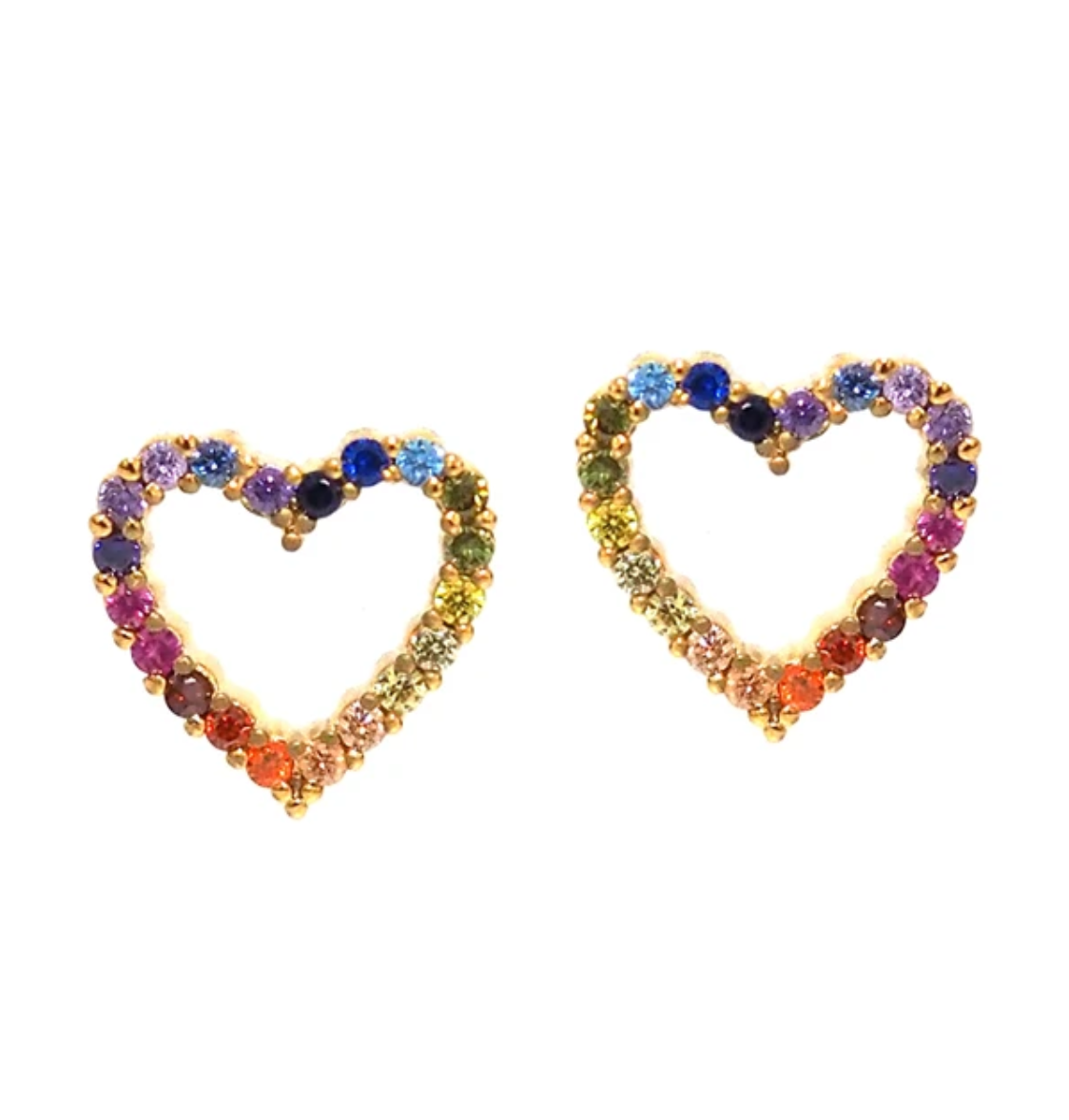 tai Gold open heart with rainbow CZ
