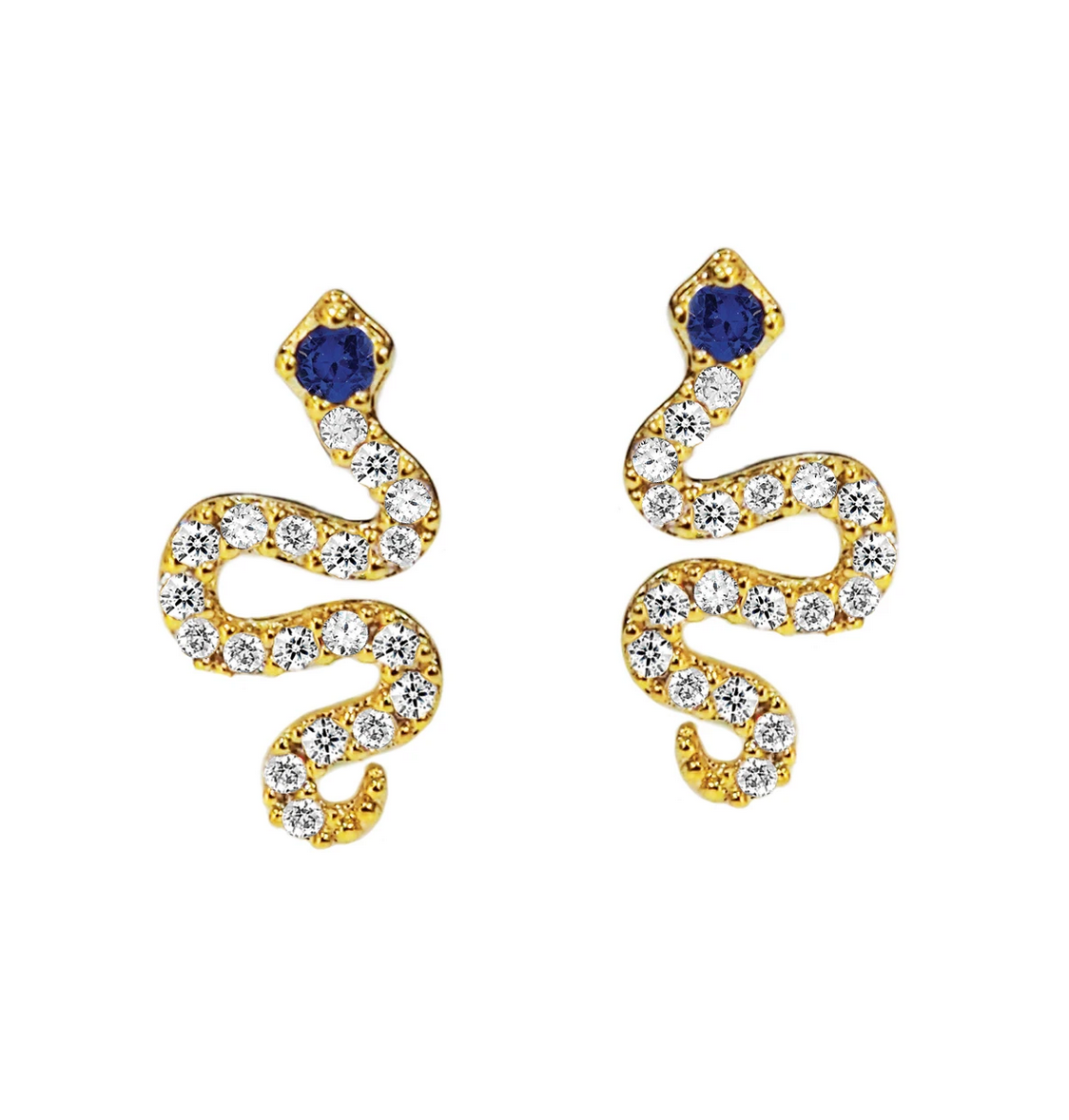tai Gold CZ snake post earrings, with sapphire CZ
