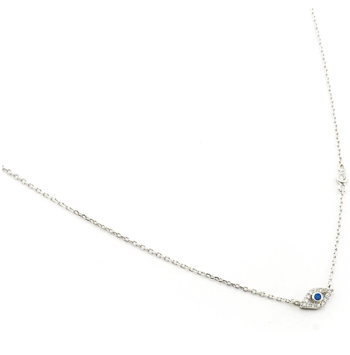 tai Silver simple chain necklace with silver CZ evil eye