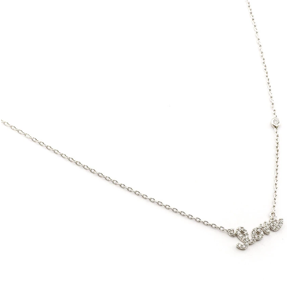 tai Simple Chain Love Necklace - Silver