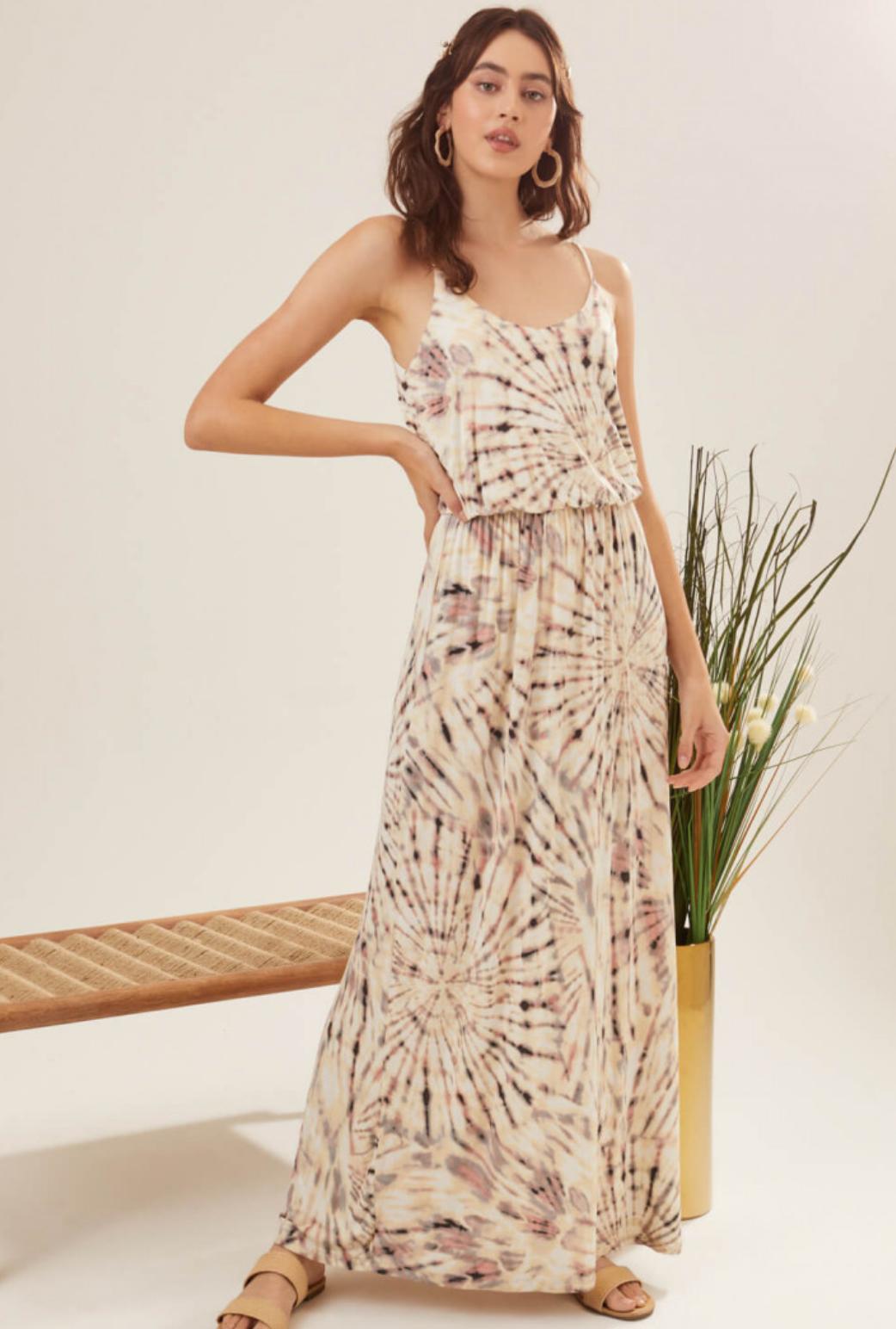 Lush Tie Dye Print Maxi Dress