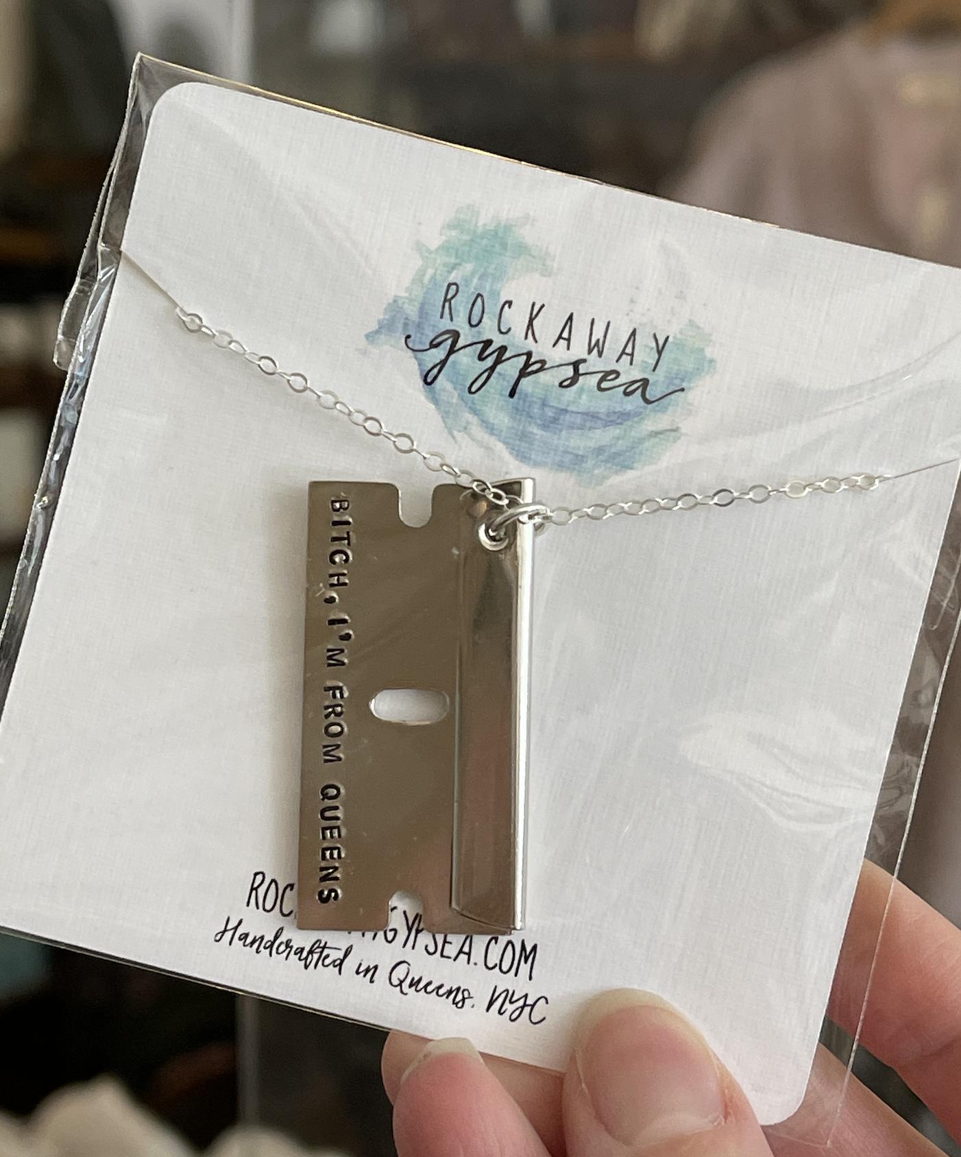 Rockaway Gypsea Queens Razor Necklace-Silver
