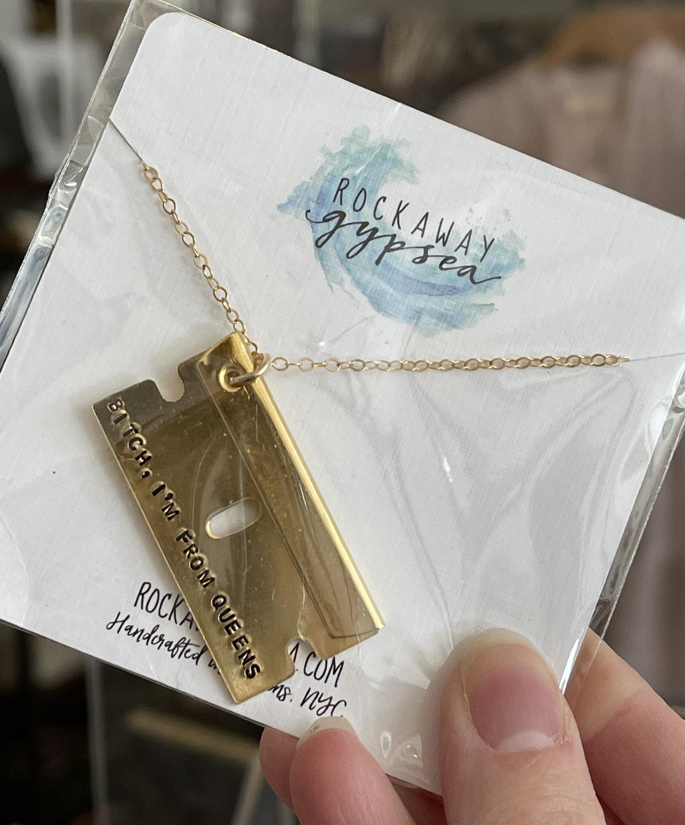 Rockaway Gypsea Queens Razor Necklace-Gold