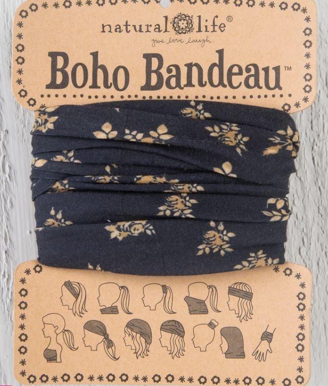 Natural Life Boho Bandeau-Black & Cream Floral