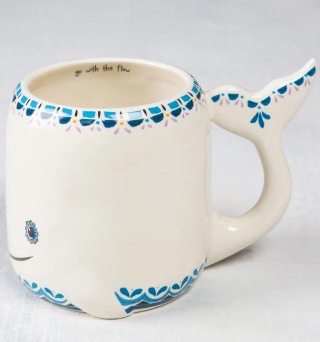 Natural Life Folk Art Mug- White Whale