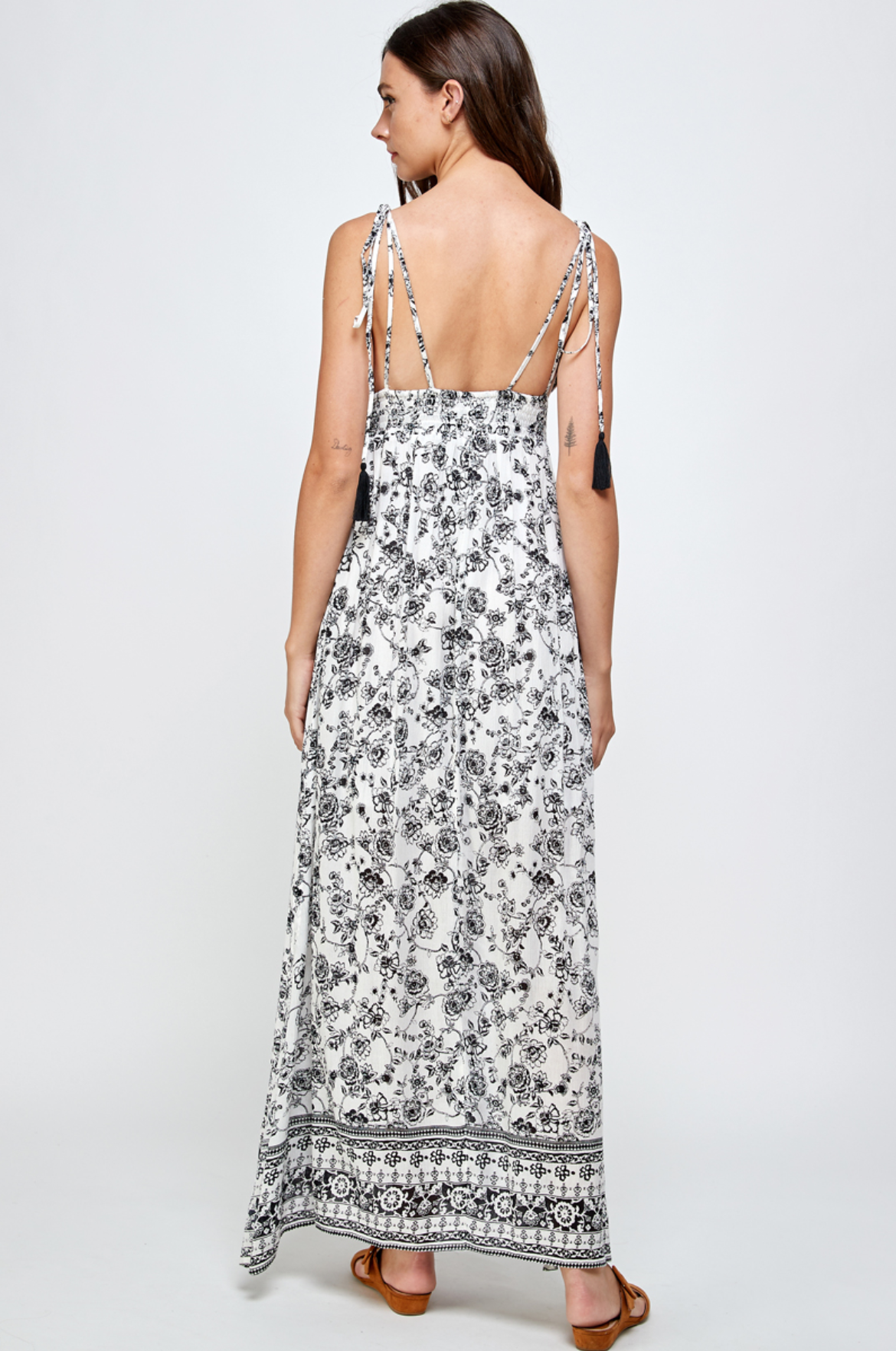 En Creme Lindsey Maxi Dress-Black/White