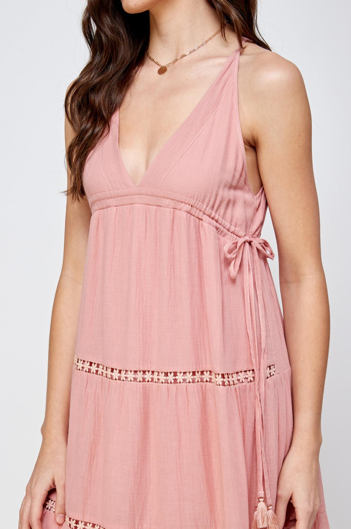 En Creme Chrissy Maxi Dress-Rose