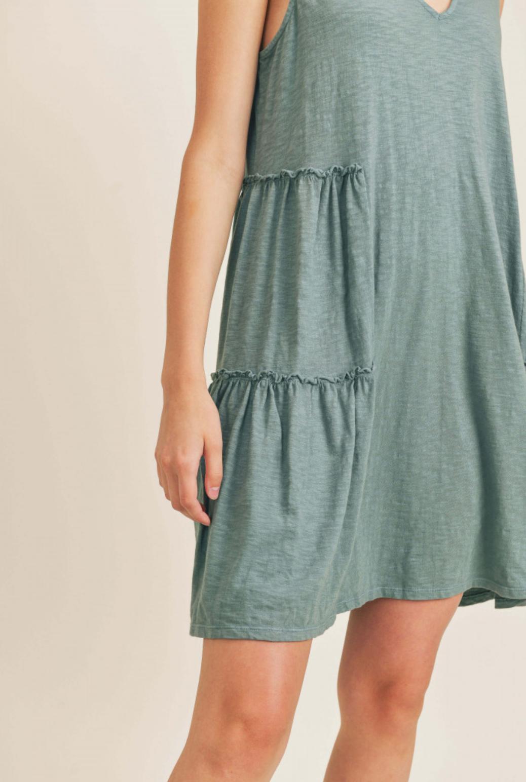 Lush Sleeveless Dress w/Ruffle - Shadow Green