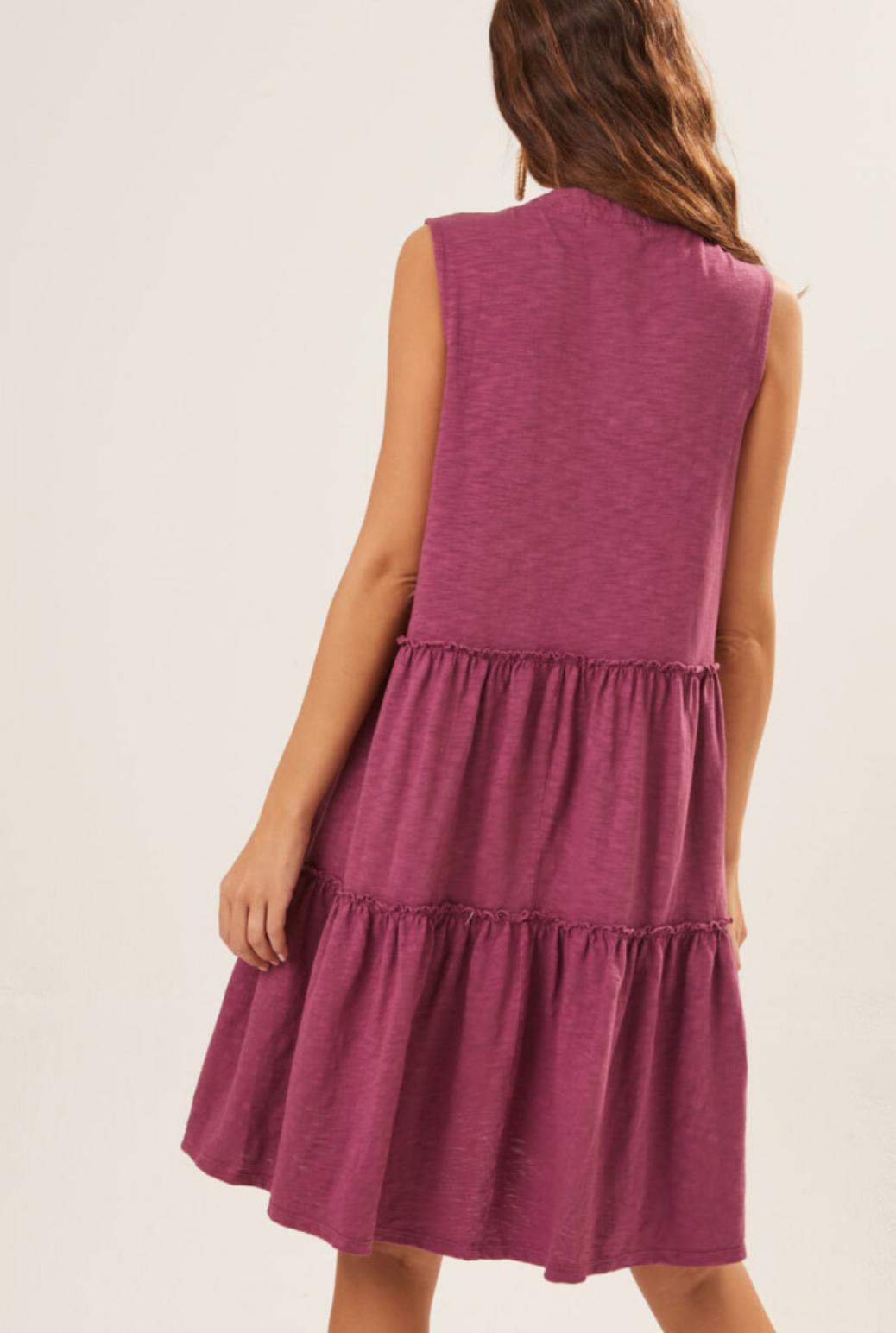 Lush Sleeveless Dress w/Ruffle - Heather Rose