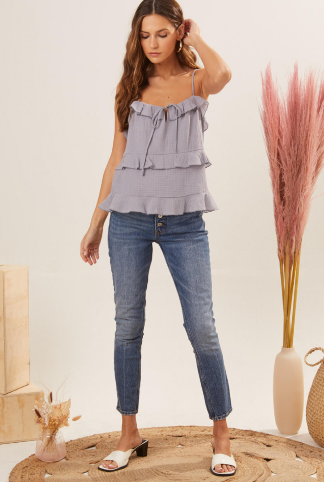 Lush Woven Top Spaghetti Strap Tank - Dusty Orchid