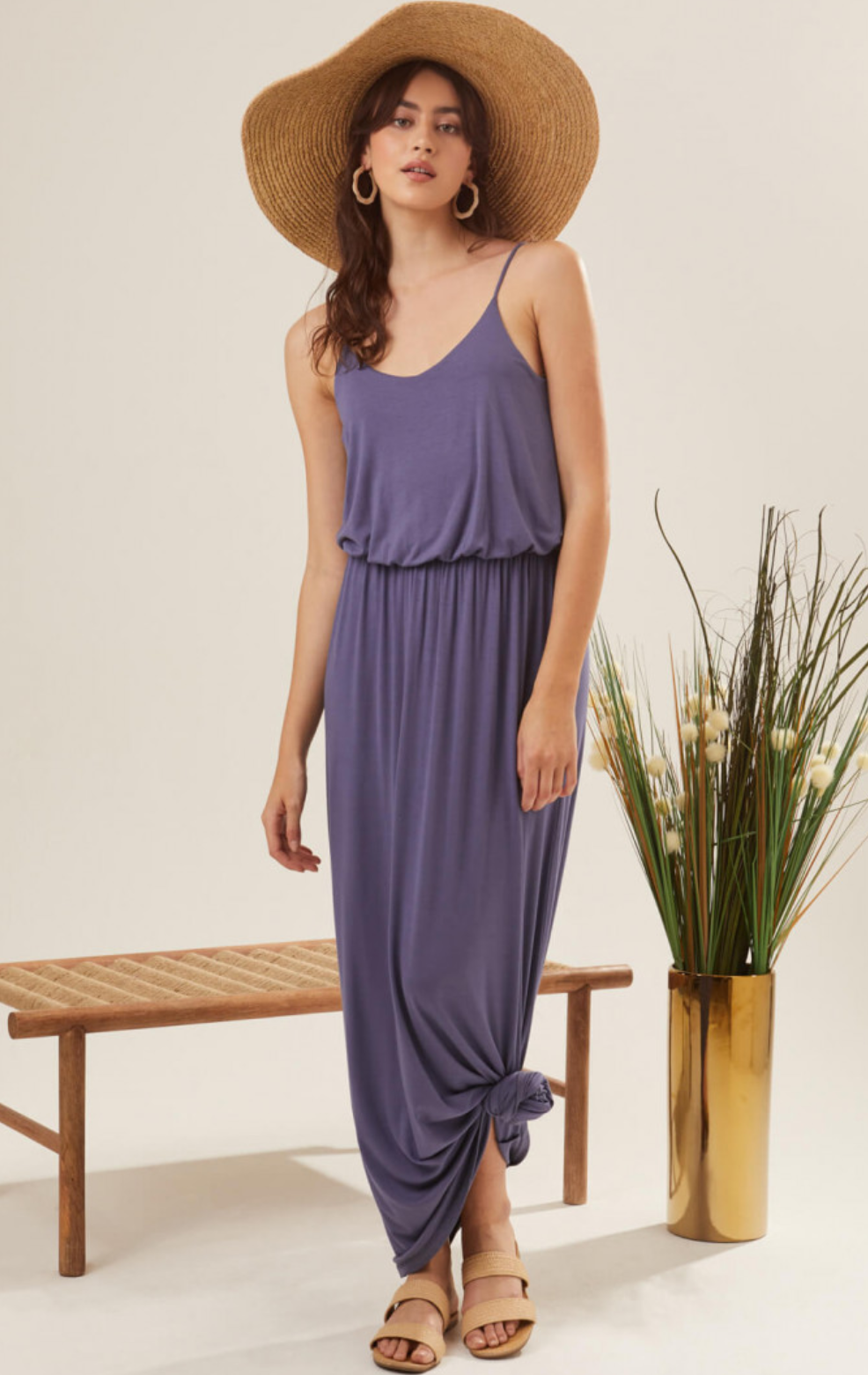 Lush Jersey Maxi Dress-Navy Blue