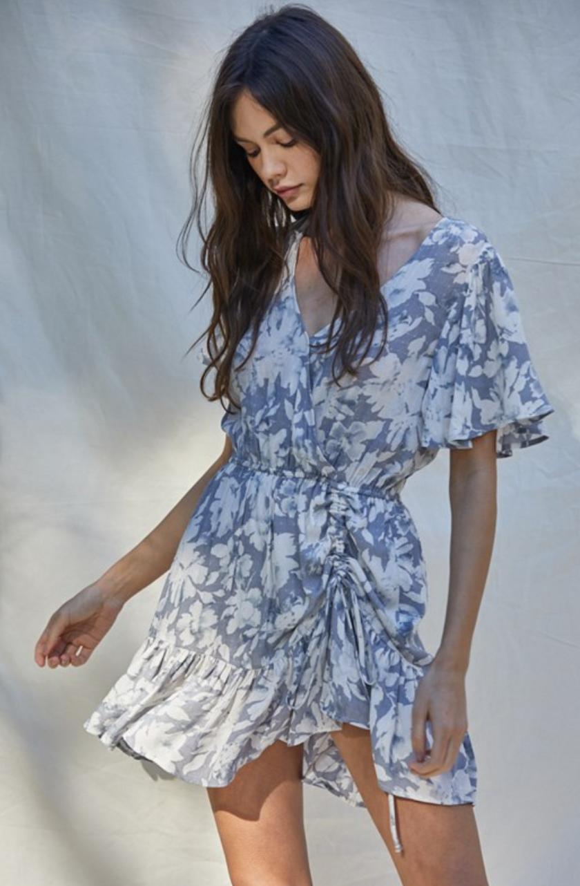 By Together Dobby Wrap Dress-GreyBlue/White