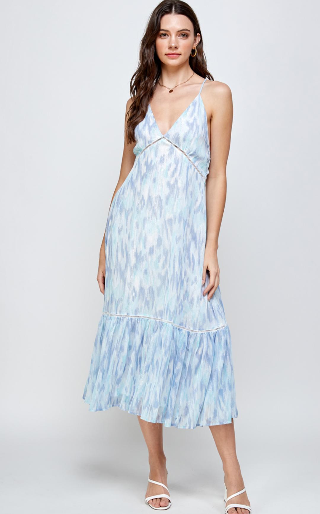 En Creme Maya Dress-Blue Multi