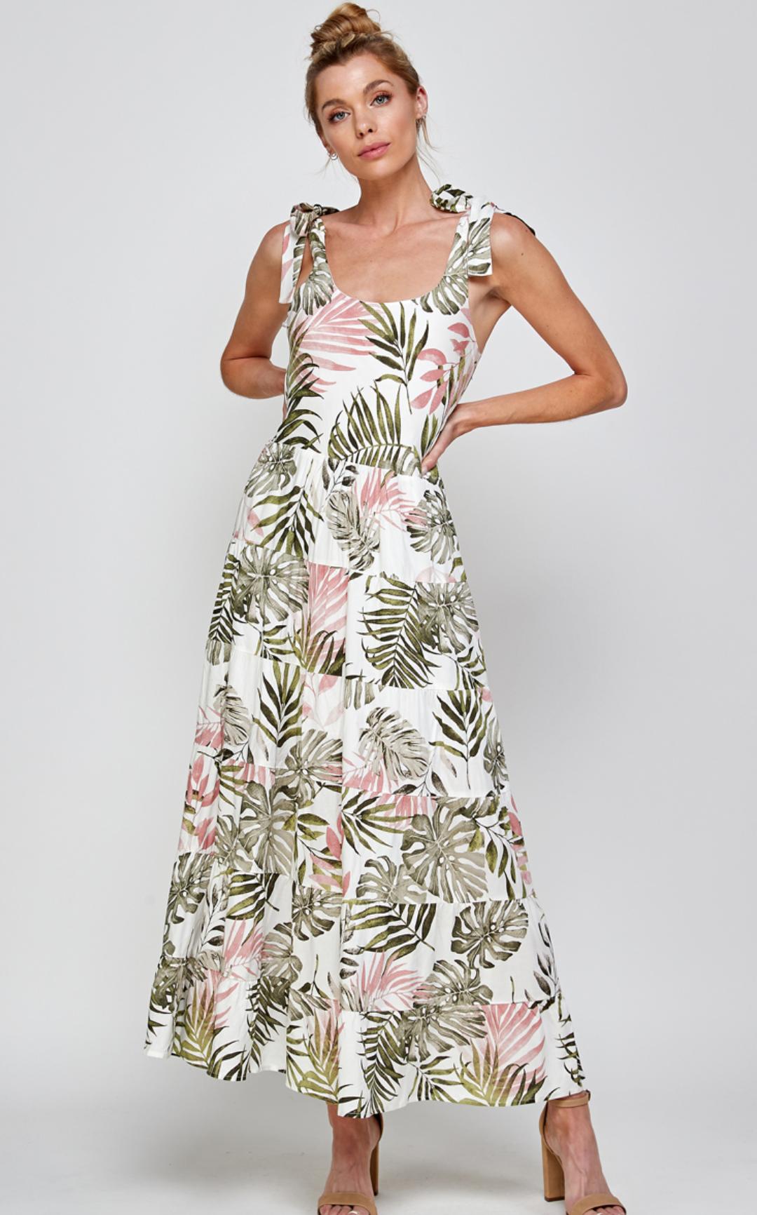 En Creme Tropics Maxi Dress-White Multi