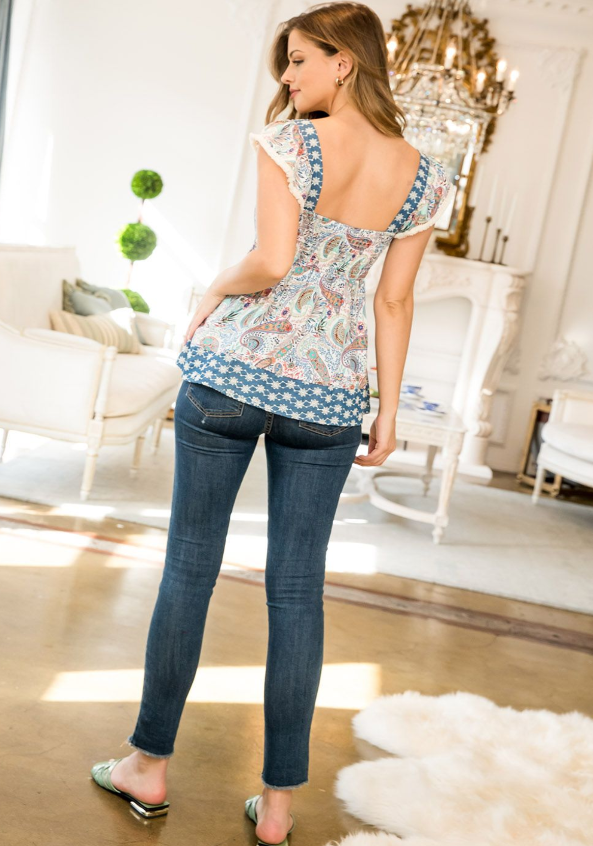 THML Smocked Paisley Print Top-Blue
