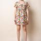 THML Printed VNeck Dress-Cream