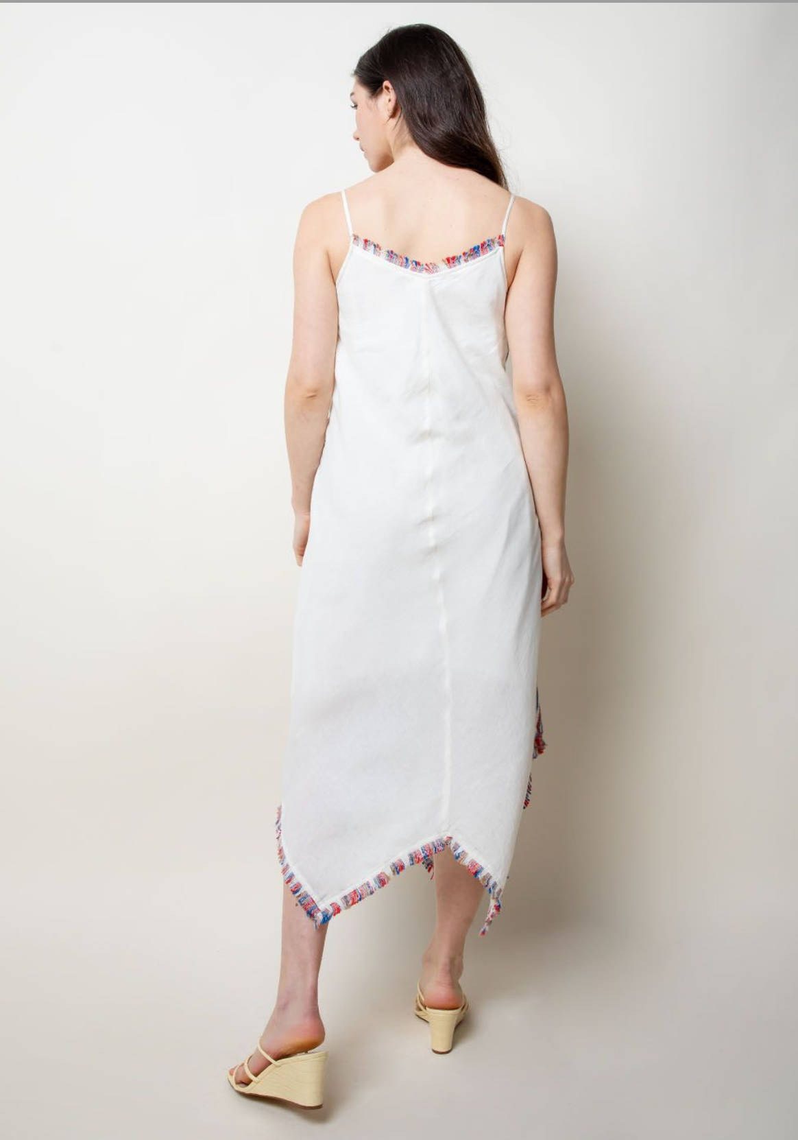 THML Embroidered Strap Long Dress-Red