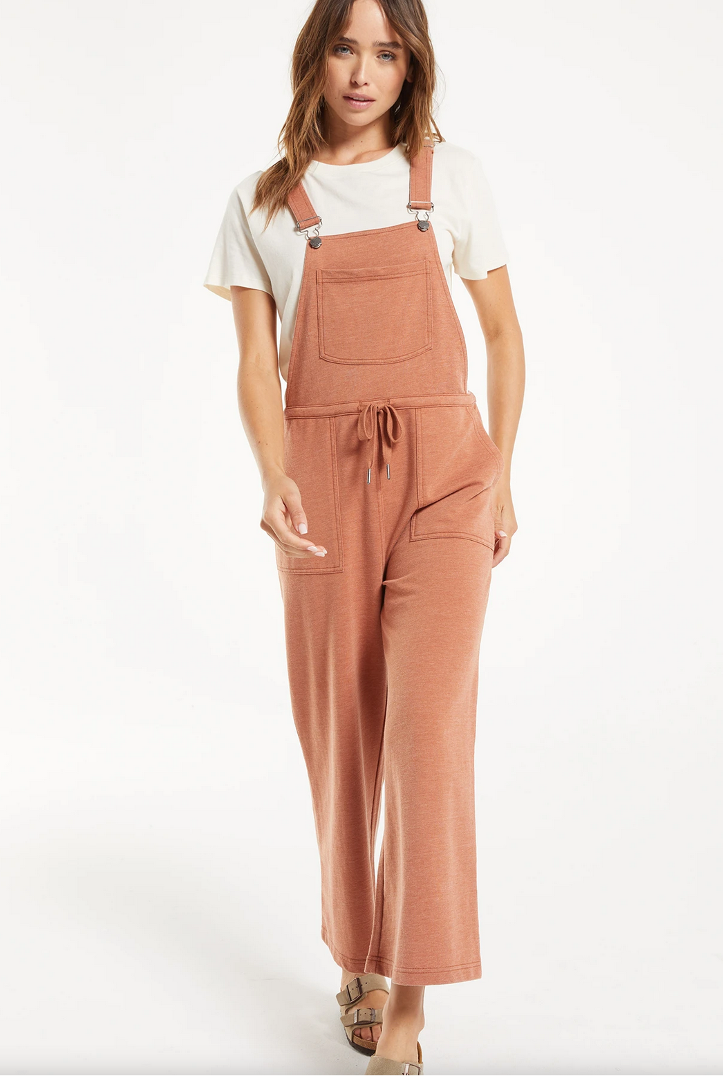 Z Supply Cinched Waist Overalls- Rust-FINAL SALE