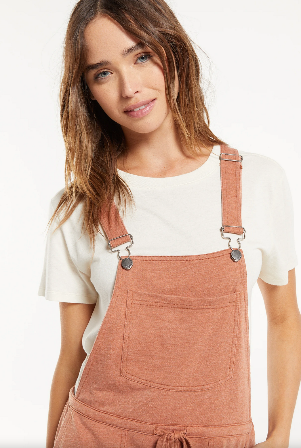 Z Supply Cinched Waist Overalls- Rust