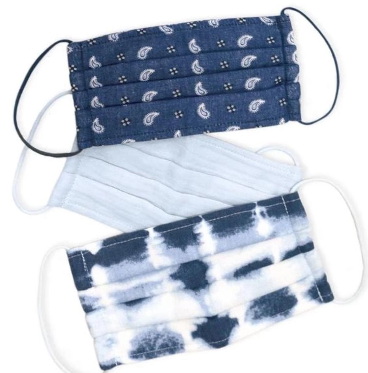 Kitsch Cotton Mask 3pc Set -Blue Tie Dye