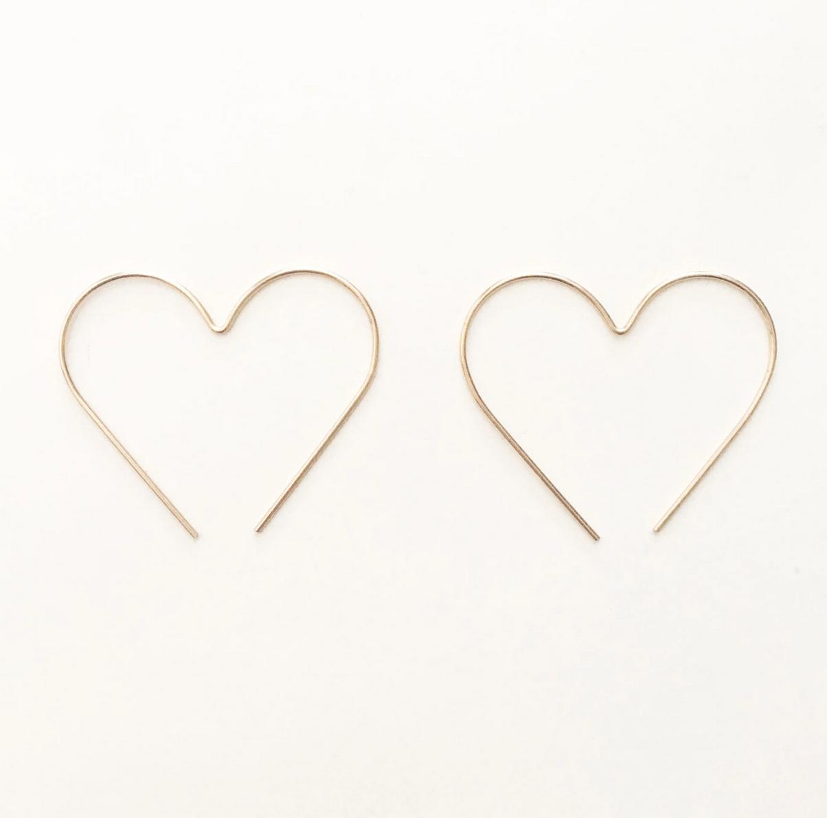 Hooks & Luxe Heart Hoop Earrings- Gold Fill