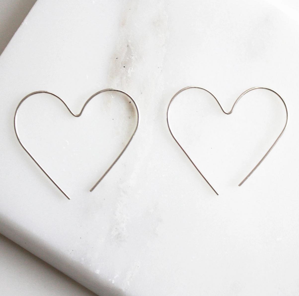 Hooks & Luxe Heart Hoop Earrings- Silver