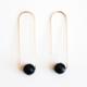 Hooks & Luxe Long Hook Earrings - Black Onyx