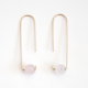 Hooks & Luxe Long Hook Earrings - Rose Quartz