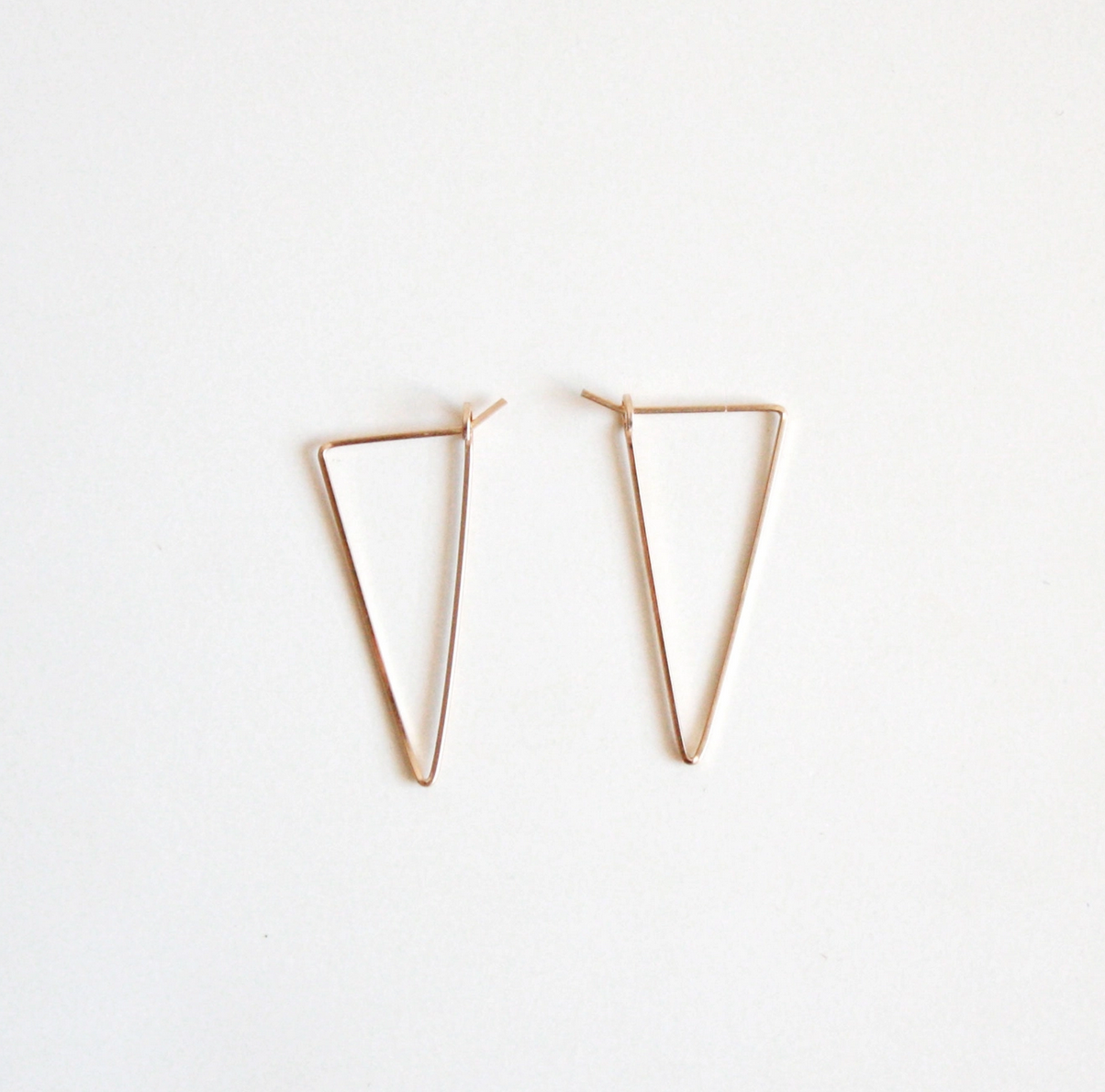 Hooks & Luxe Triangle Hoop Earrings Small-14k Gold