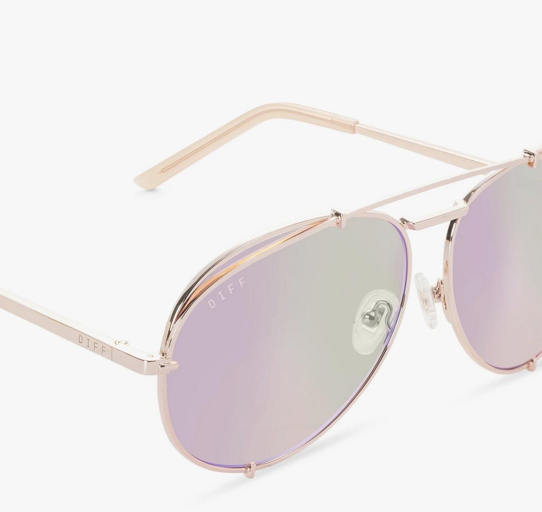 Diff Eyewear koko - champagne + coral mirror lens
