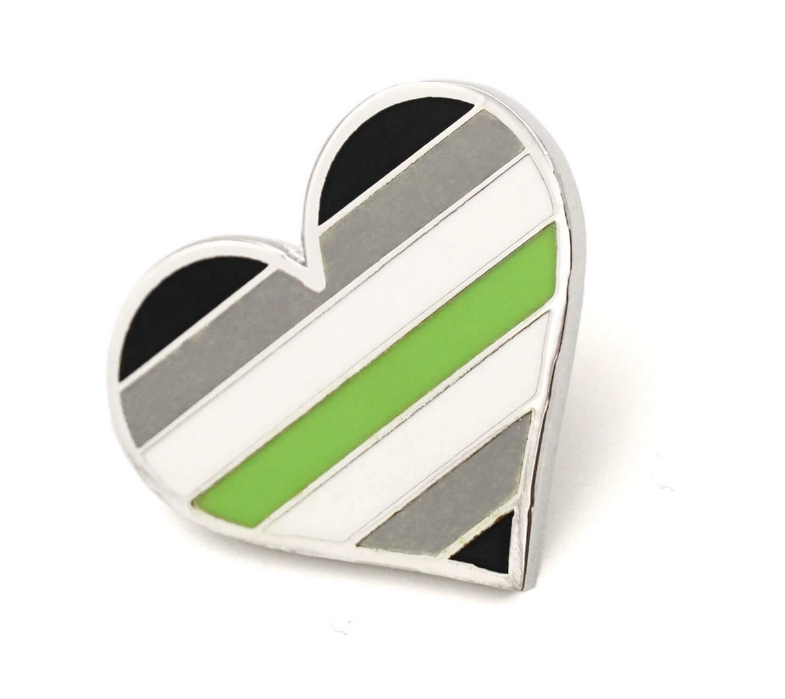 Compoco Agender Flag Heart Pin