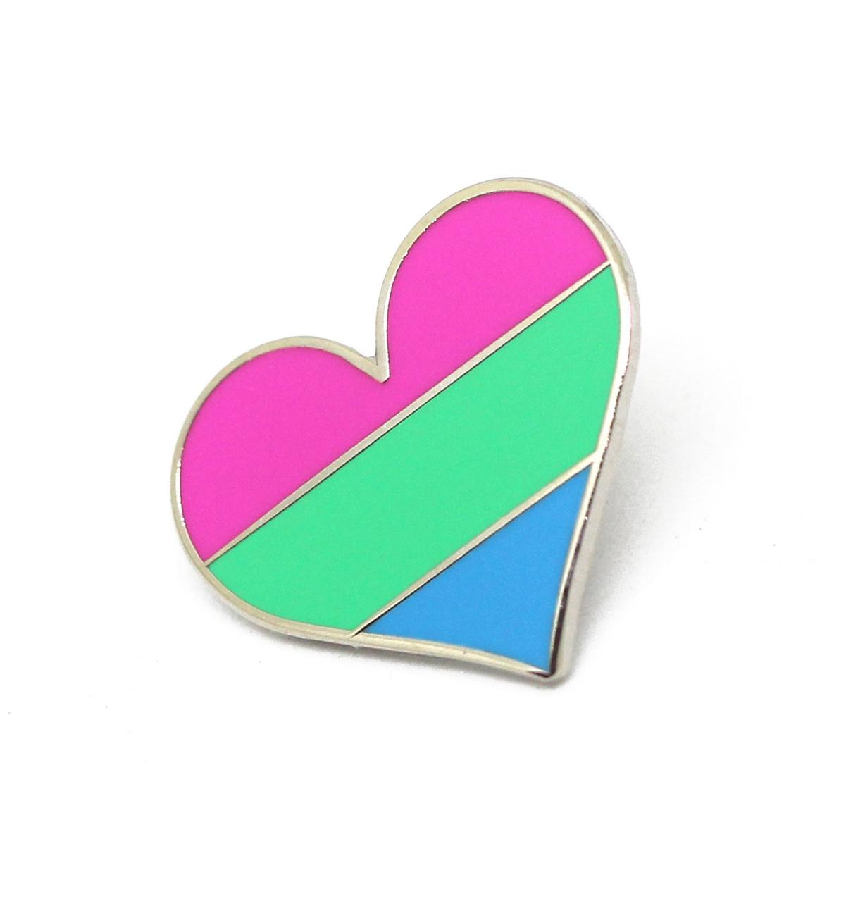 Compoco Polysexual Flag Heart Enamel Pin