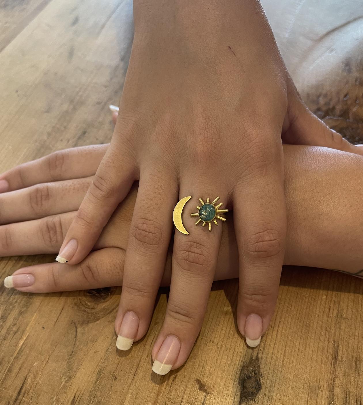 Cameoko Sun and Moon Adjustable Ring-chrysocolla + gold leaf
