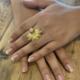 Cameoko Adjustable Brass Starburst Ring -Pink Opal