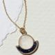 Cameoko The Mini Moonrise Necklace-selenite + blue goldstone
