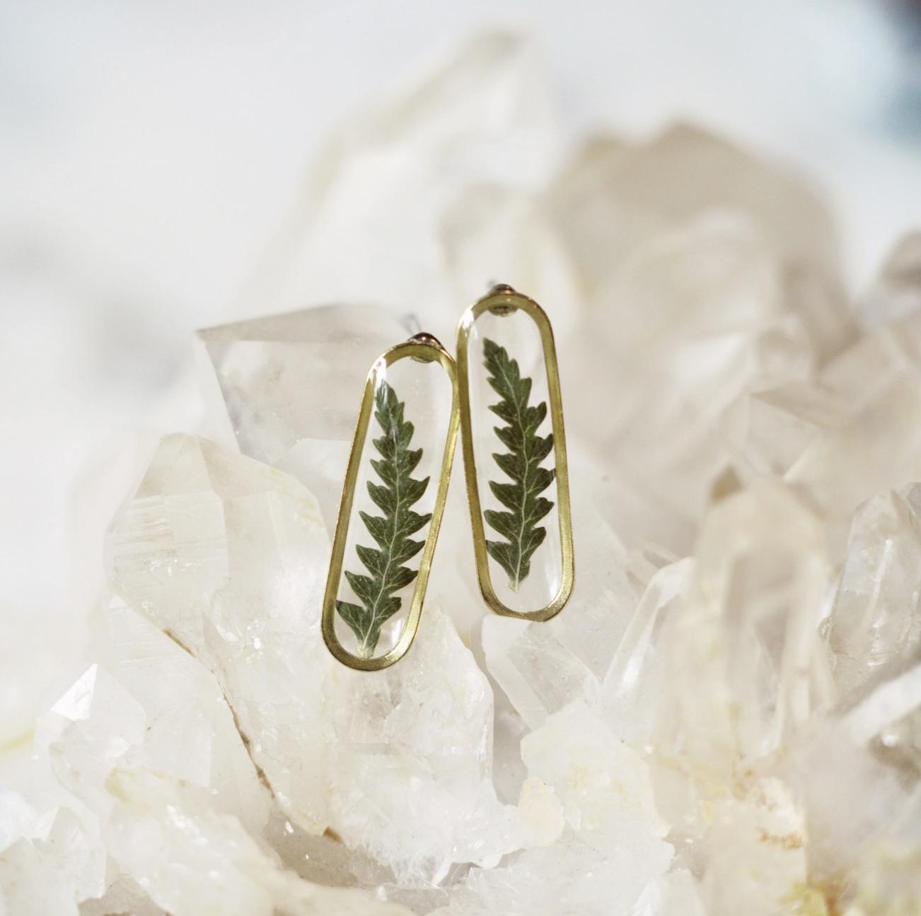 Cameoko Slender Oval Drop Post Earrings-pressed ferns