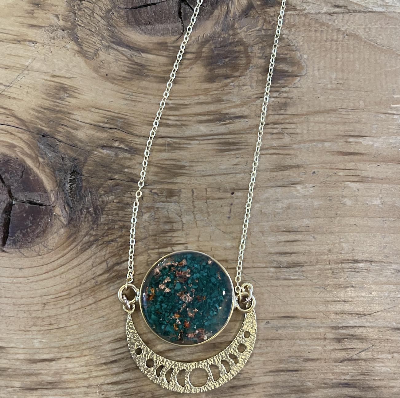 Cameoko Moonphase Starburst Necklace-coral + gold flake