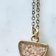 Cameoko Moon Trio Crushed Gemstone Inlay Necklace- Pink Opal