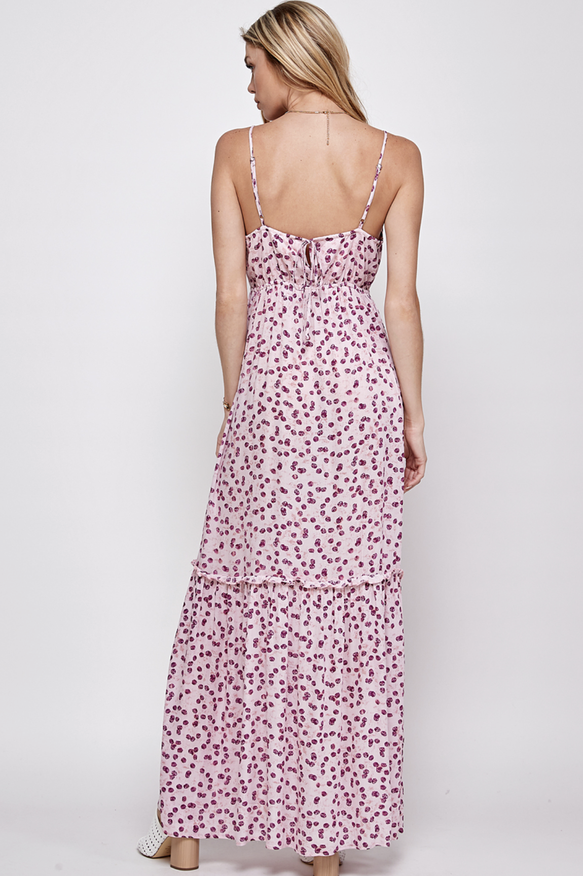 En Creme Sleaveless Print Dress - Pink/Purple