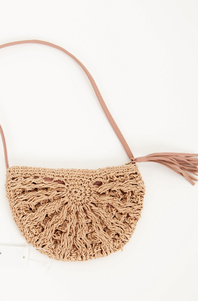 Lucca Couture MOON CHILD CROCHET CROSS BODY BAG - ROSE