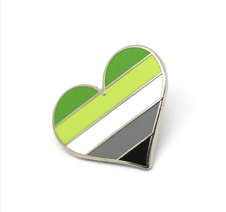 Compoco Aromantic Flag Heart Pin
