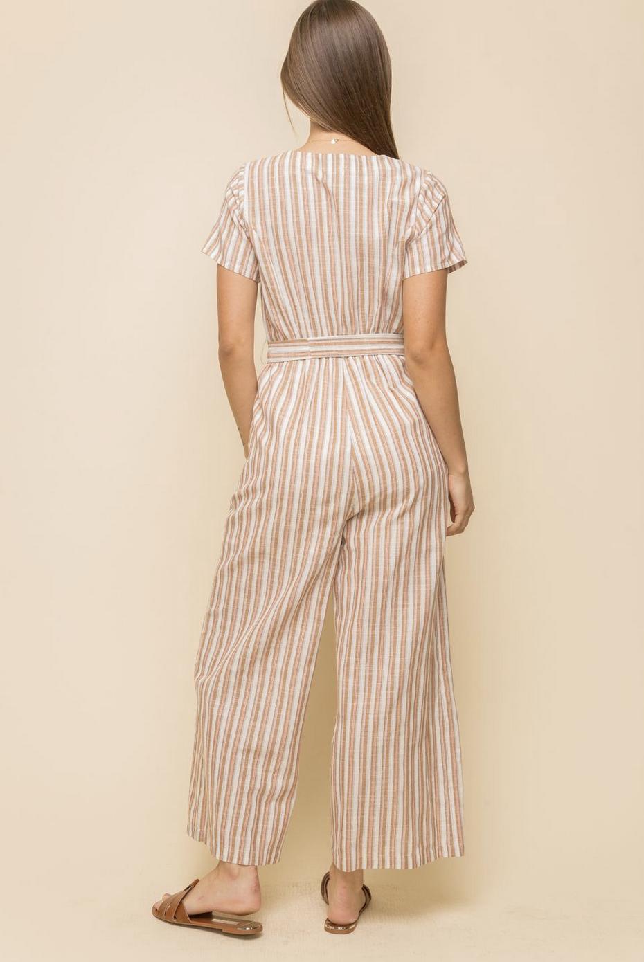 Hem & Thread Larissa Striped Jumpsuit-Pink