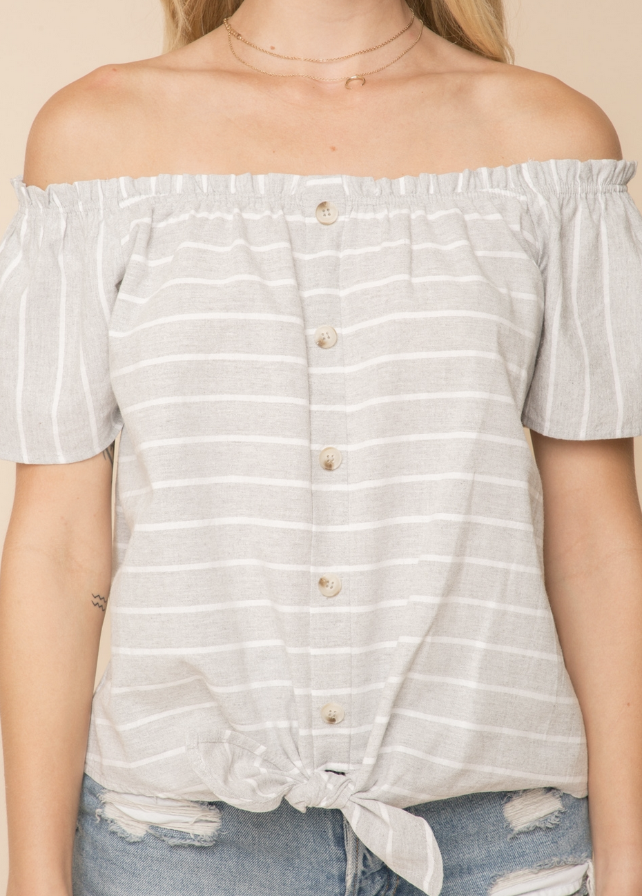 Hem & Thread Elisa Off the Shoulder Top-Grey