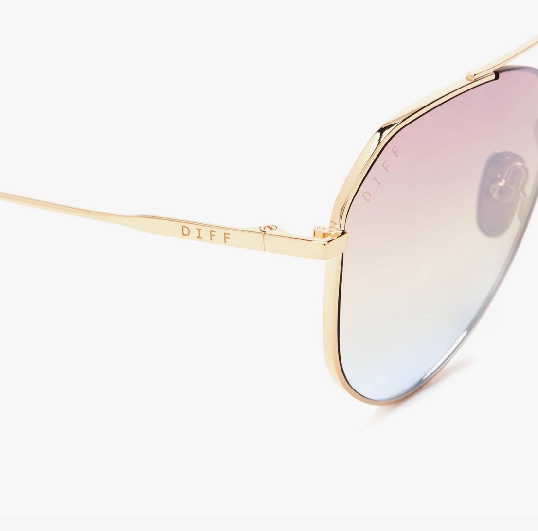 Diff Eyewear dash - gold + rainbow flash
