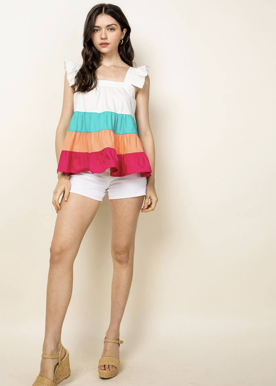 THML Tiered Colorblocked Top