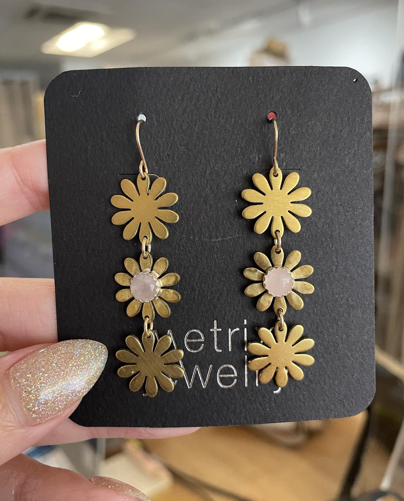 Metrix Jewelry Brigitte Drop Earrings-Rose Quartz