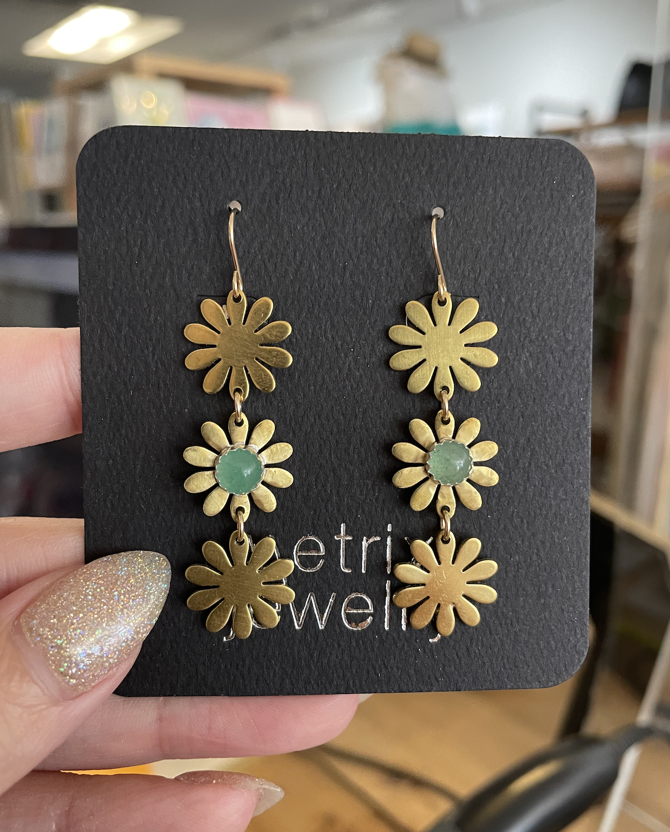 Metrix Jewelry Brigitte Drop Earrings-Green Aventurine