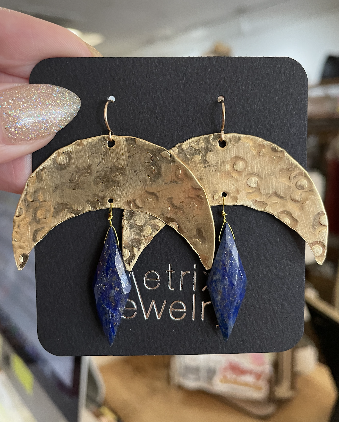 Metrix Jewelry La Luna Earrings- Lapis