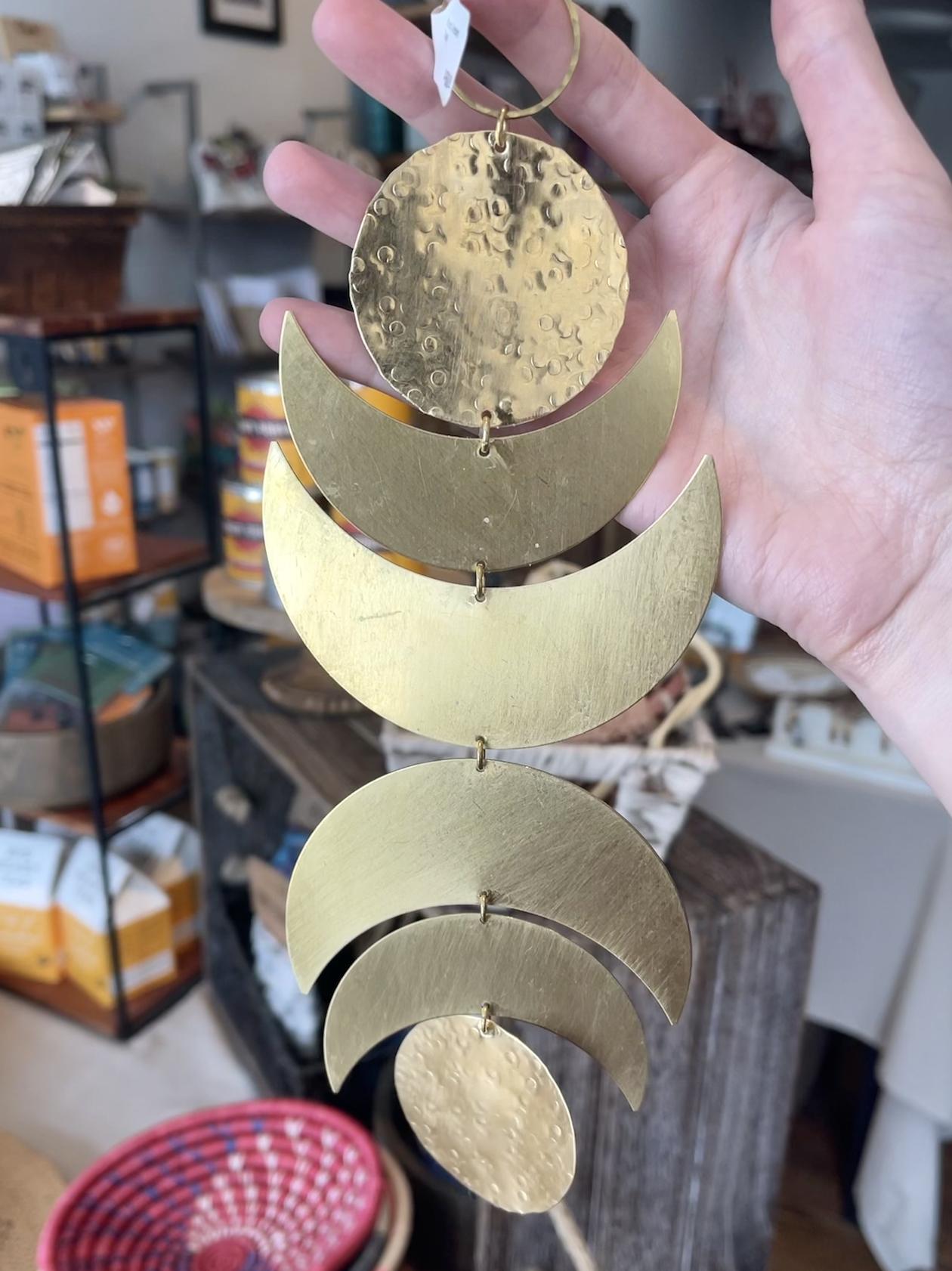 Metrix Jewelry Brass Crescent Drop Wall Hanging